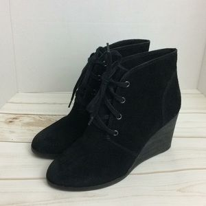 Lucky Brand Leather Suede Wedge Bootie  lace up